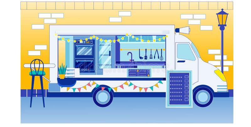 Фестиваль 'Food Truck with Menu Sign on Food Festival Fair' иллюстрация штока