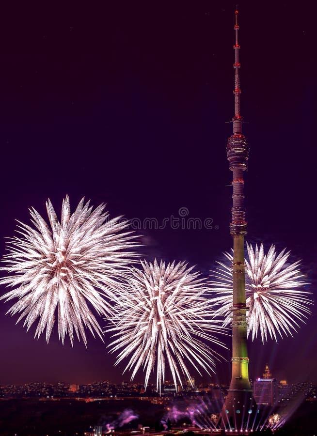 Фестиваль LightFest около башни Ostankino феиэрверк стоковое изображение rf