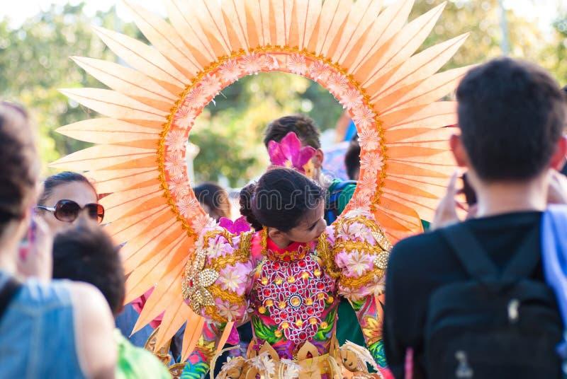 Фестиваль Pinta Flores, город San Carlos, житель Запада Negros стоковое изображение