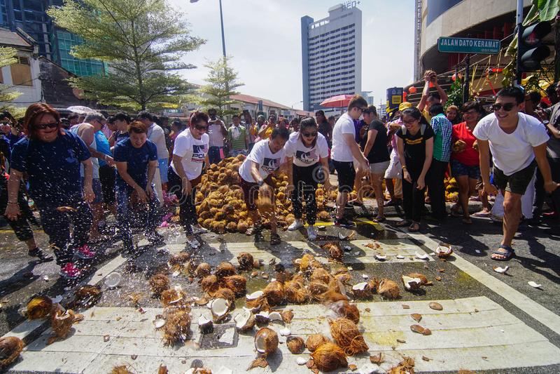 Фестиваль Thaipusam на Джорджтауне, Penang, Малайзии стоковые изображения