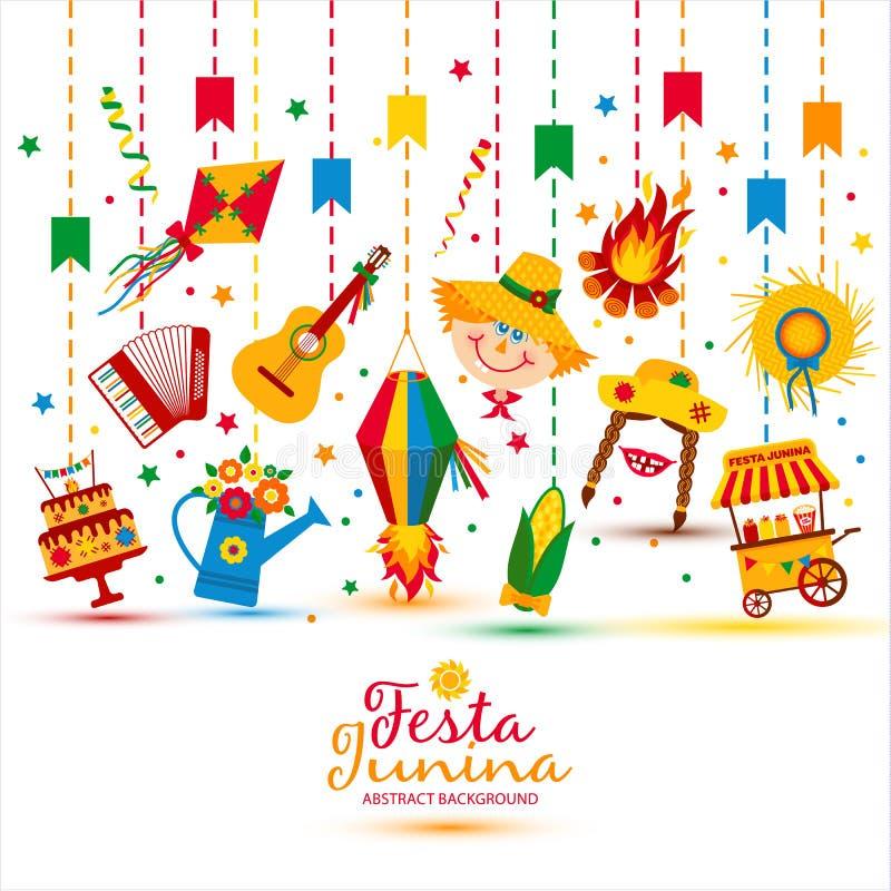 Фестиваль деревни Festa Junina в Латинской Америке Значки установленные в bri иллюстрация вектора