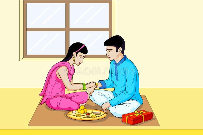 Фестиваль Индия Raksha Bhandhan, брата и сестры бесплатная иллюстрация