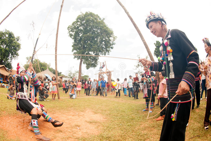 Фестиваль качания Akha стоковая фотография rf