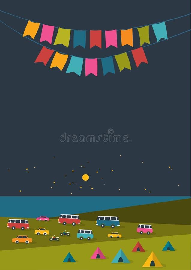 Фестиваль ночи лета, плакат музыки партии, предпосылка с флагами цвета и ретро автомобилями, фургоны, шины и шатер field иллюстрация вектора