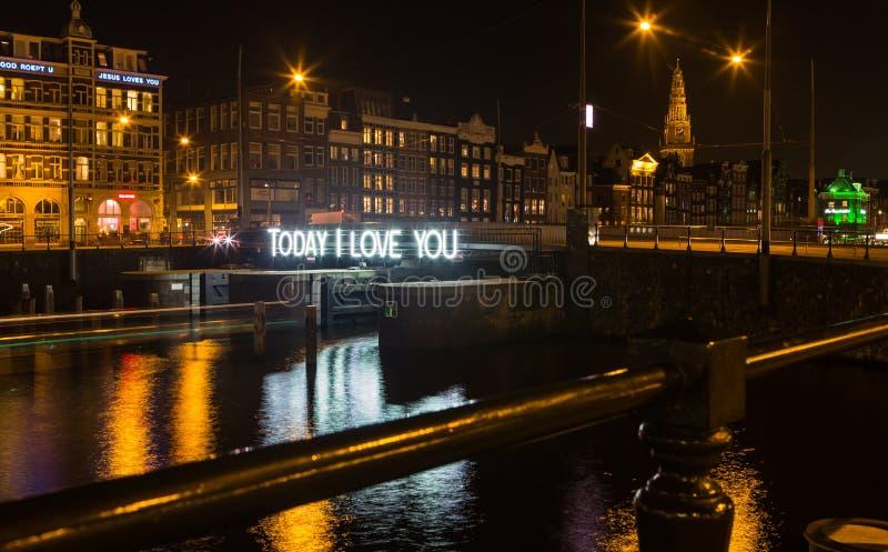 Фестиваль света Амстердама - сегодня я тебя люблю стоковое фото