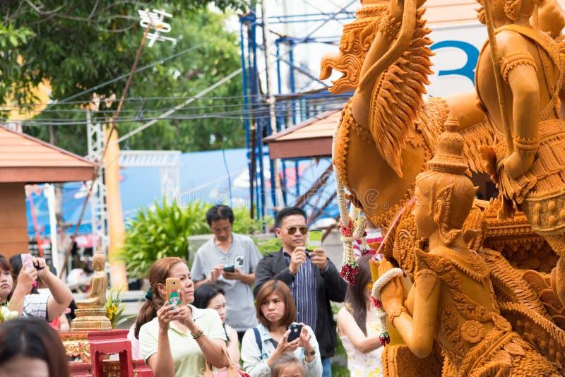 Фестиваль свечи Таиланда в Nakhon Ratchasima стоковые изображения