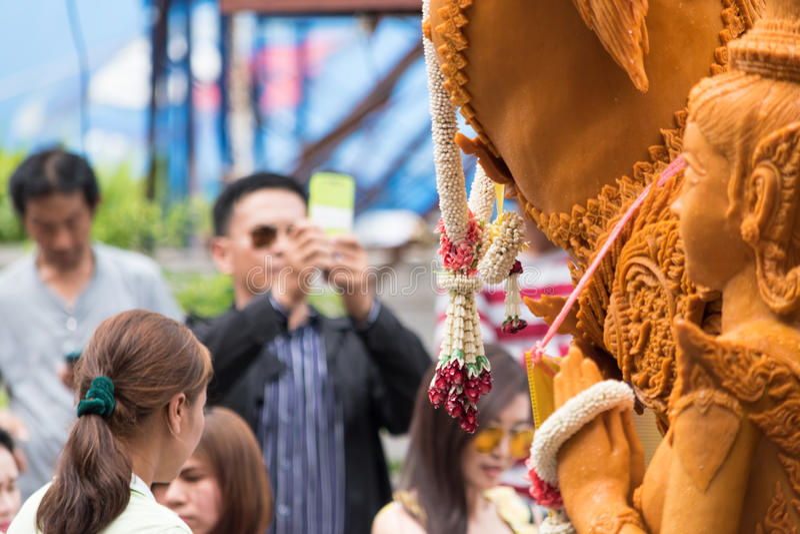 Фестиваль свечи Таиланда в Nakhon Ratchasima стоковое изображение rf