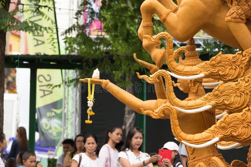 Фестиваль свечи Таиланда в Nakhon Ratchasima стоковые фотографии rf