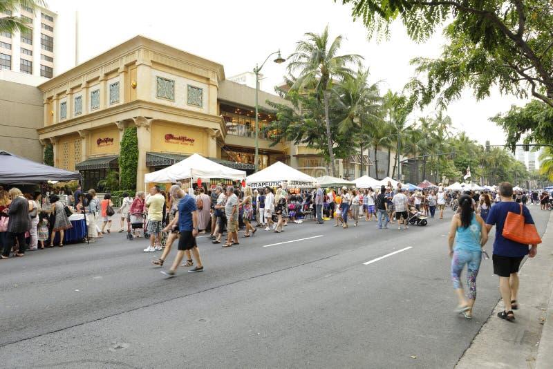 Фестиваль улицы пляжа Waikiki стоковое изображение rf