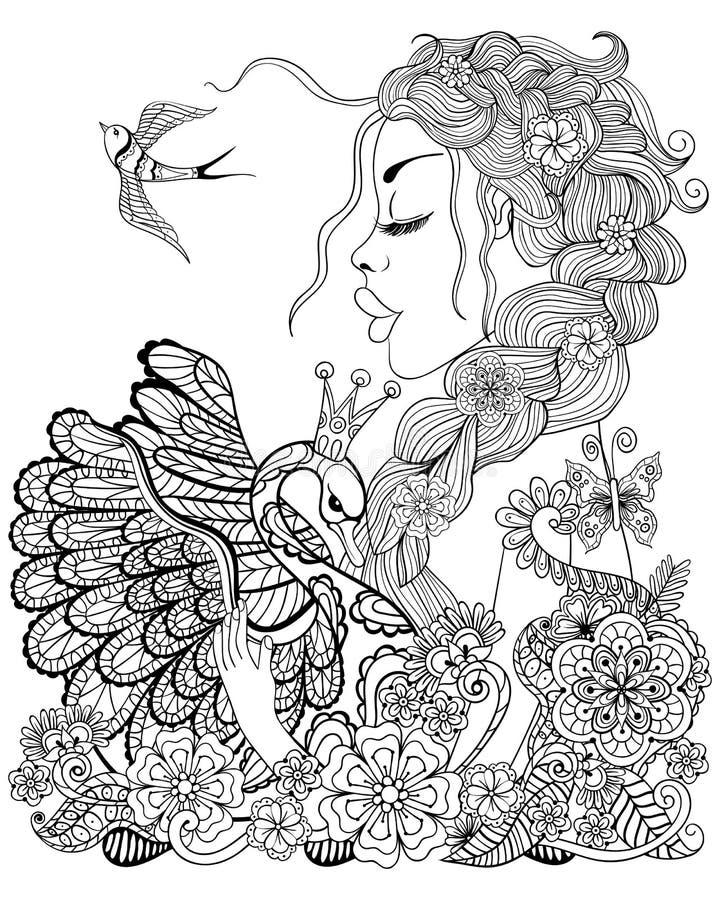 Фея леса с венком на головном обнимая лебеде в цветке для анти- иллюстрация штока