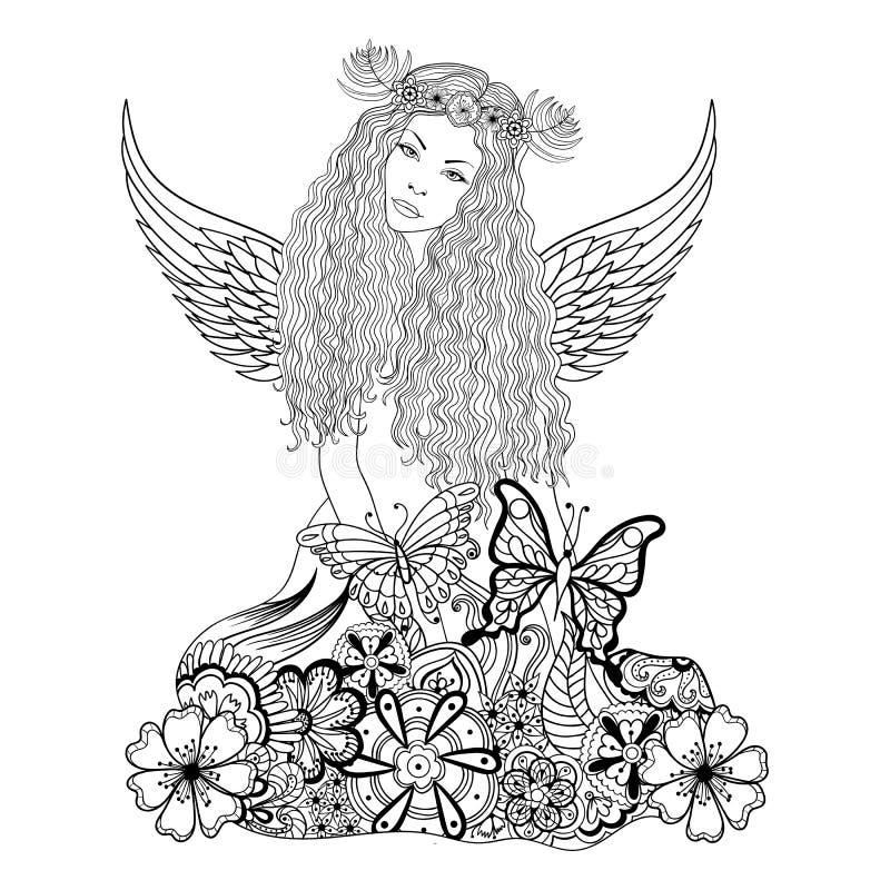 Фея леса с крылами и венком на голове, молодое красивым иллюстрация вектора