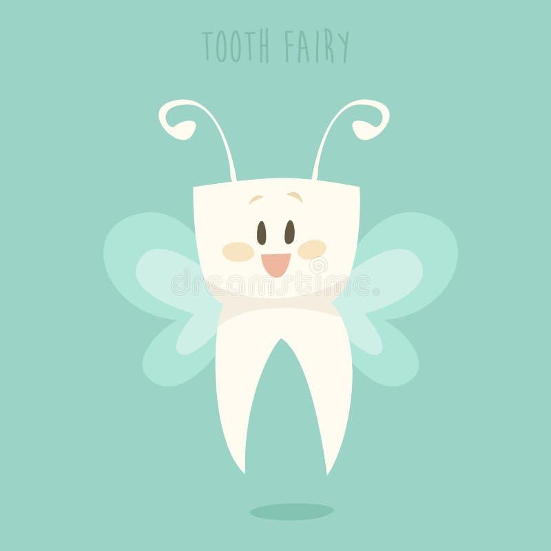 Фея зуба, вектор дизайна здоровых зубов плоский иллюстрация штока