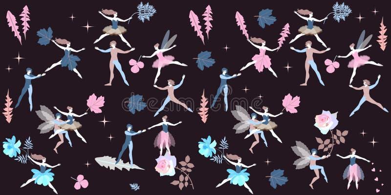 Фея и эльфы милого мультфильма маленькая танцуя с листьями цветков одуванчика, sagebrush, калины, розы и космоса иллюстрация штока