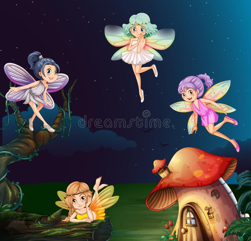 Фея на доме гриба на ноче иллюстрация штока