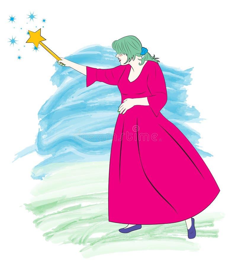 Фея с волшебной палочкой иллюстрация вектора