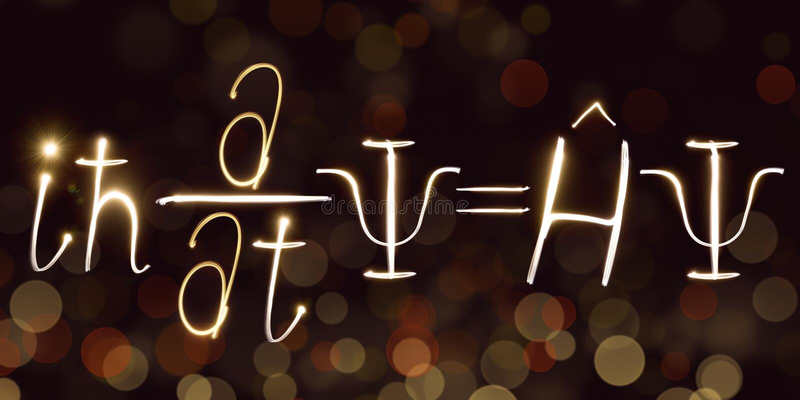 Физика, формула ` s Schrodinger, freezelight, bokeh, уровнение Schrödinger, квантовая механика стоковое изображение rf