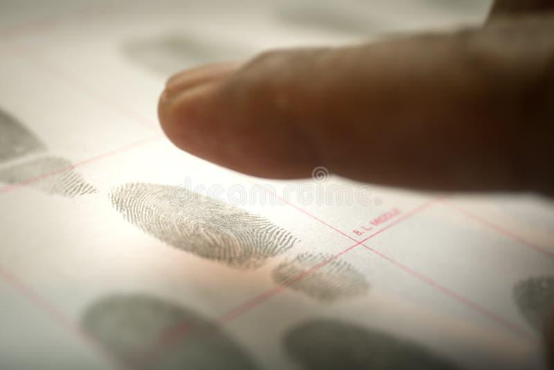 Физиологопсихологическая концепция биометрии для досье fingerpr стоковое фото