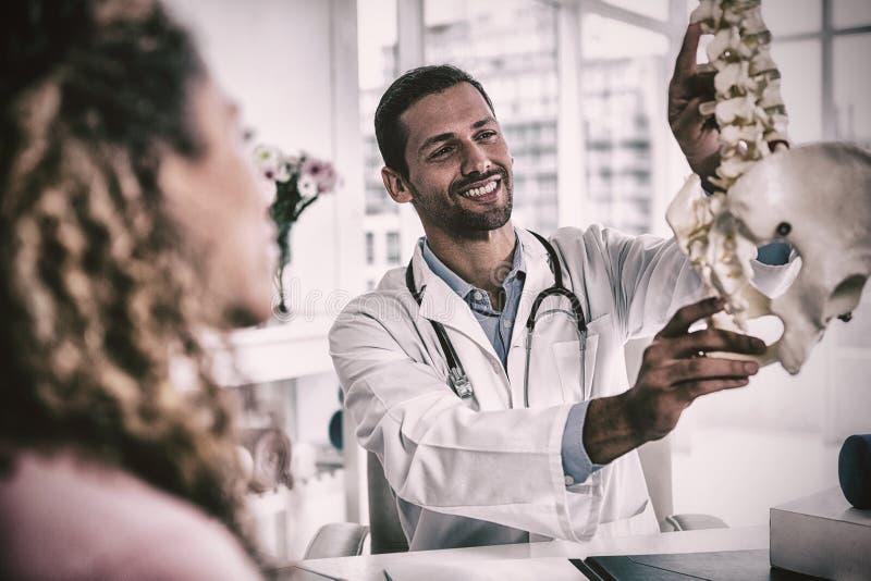 Физиотерапевт объясняя модель позвоночника к пациенту стоковая фотография