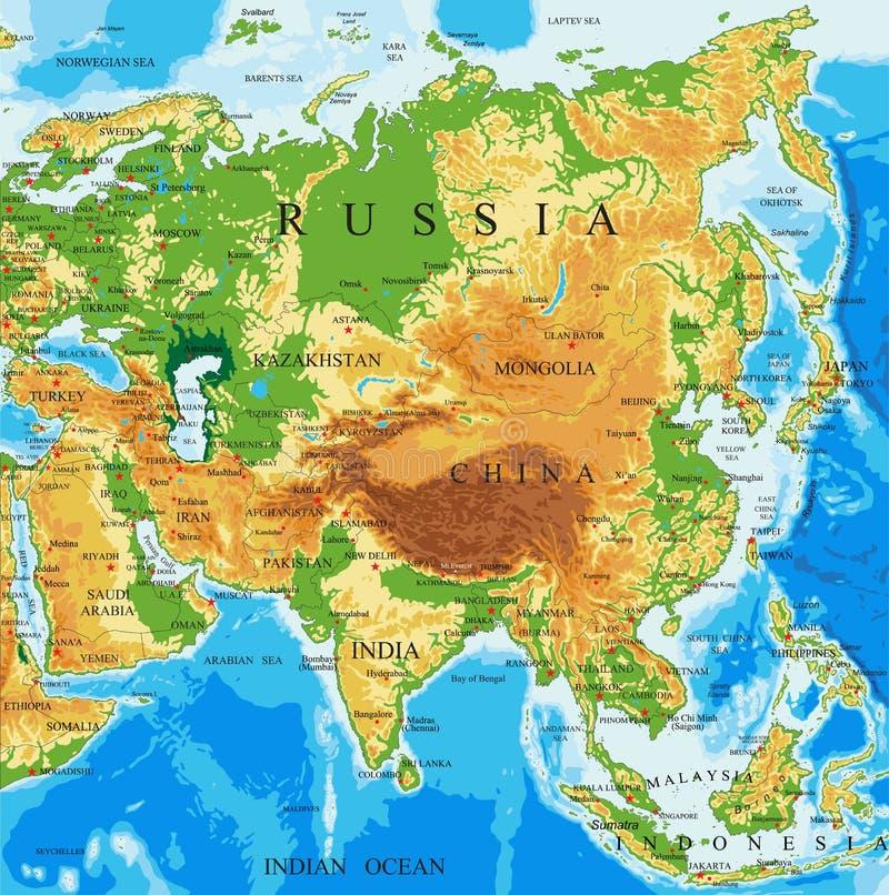 Физическая карта Азии иллюстрация штока