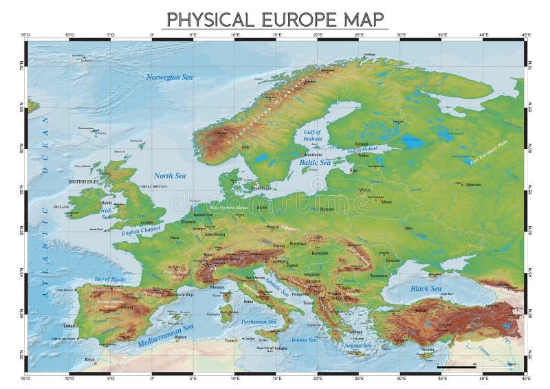 Физическая карта Европы бесплатная иллюстрация
