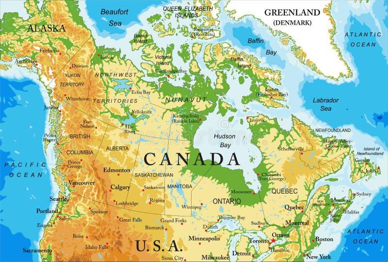 Физическая карта Канады иллюстрация штока