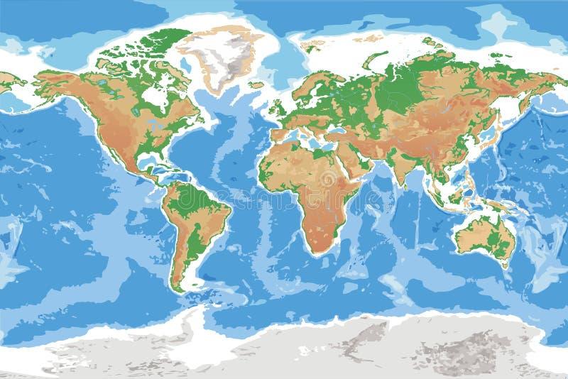 Физическая карта мира земли детального топографического иллюстрация вектора