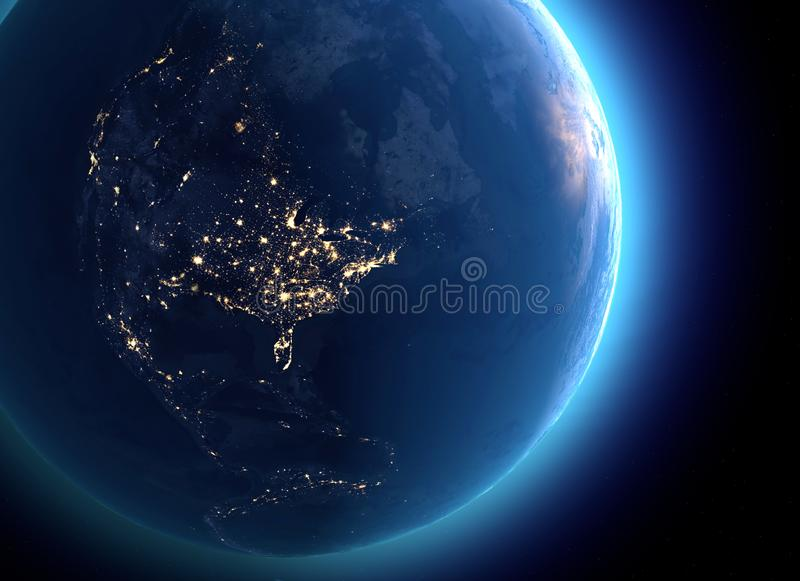 Физическая карта мира, спутниковый взгляд Северной Америки и Канада глобус полусфера Взгляд ночи, света города иллюстрация штока