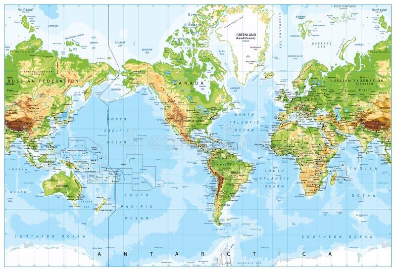 Физическая карта мира центризованная Америка и Bathymetry иллюстрация вектора