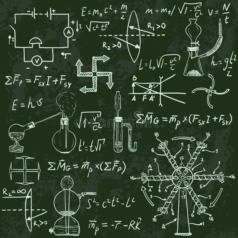 Физические формулы и явления на доске бесплатная иллюстрация