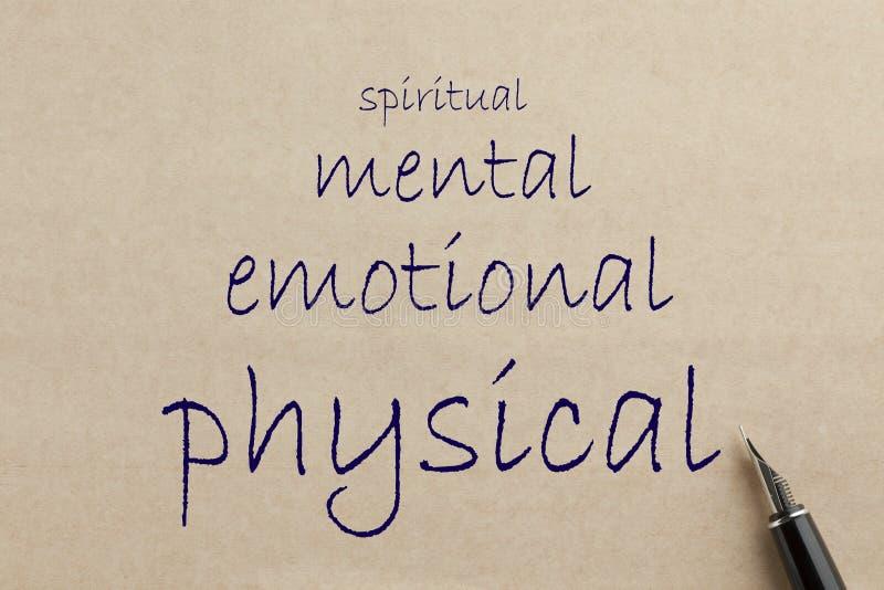 Физический, умственный, эмоциональный и духовный стоковые изображения rf