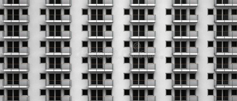 Фиктивный перевод 3D анонимных квартир в highrise города стоковые изображения