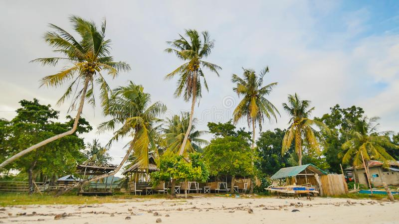 Филиппинская деревня с пальмами Пляж Остров Bohol philippines стоковые изображения
