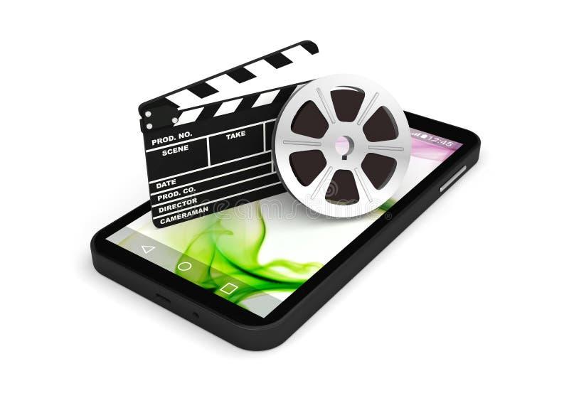 Фильм кино фильма применения смартфона иллюстрация штока