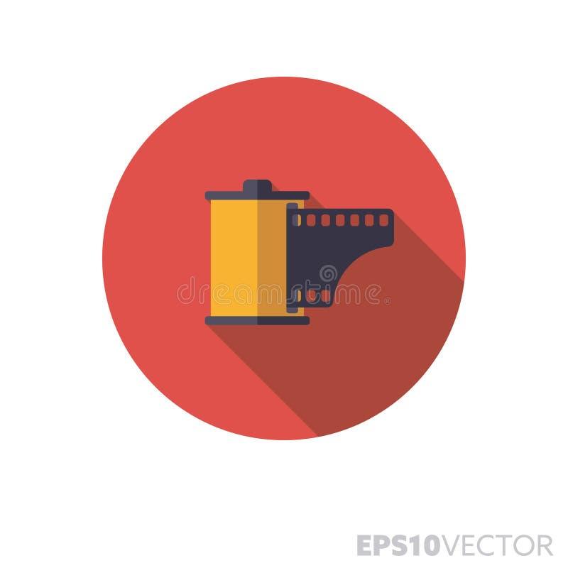 Фильм может плоско конструировать длинный значок вектора цвета тени бесплатная иллюстрация