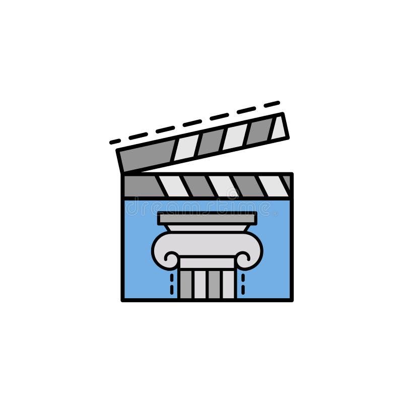 фильм, clapperboard, история, фильм, значок кино Элемент значка цвета истории для мобильных приложений концепции и сети Цветная п иллюстрация штока