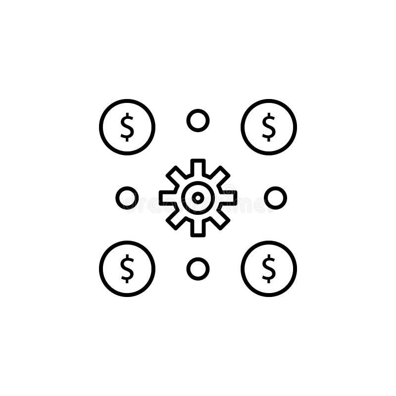 Финансовая деятельность, деньги, инвестирует, доход, значок риска Элемент иллюстрации диверсификации денег Знаки и значок символо иллюстрация штока