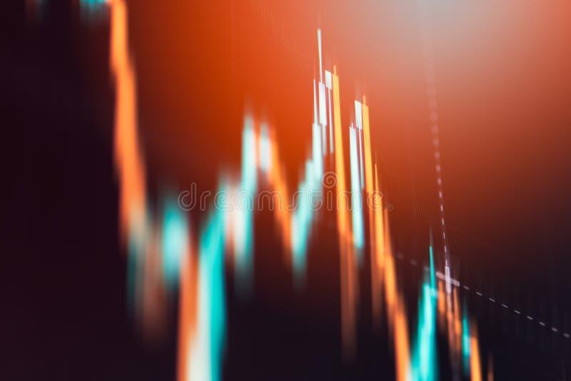 Финансовая диаграмма с поднимающей вверх диаграммой линии тренда стоковая фотография