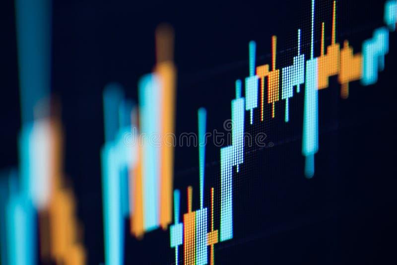 Финансовая диаграмма с поднимающей вверх диаграммой линии тренда стоковые изображения rf