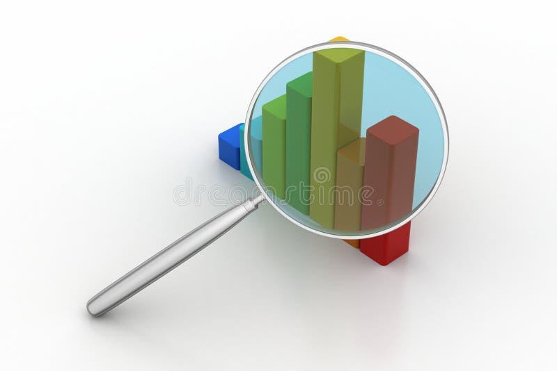 Финансовая диаграмма с увеличителем иллюстрация вектора