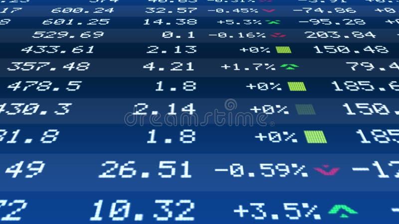 Финансовая информация в диаграммах на тиккере фондовой биржи, росте цен на недвижимость иллюстрация штока