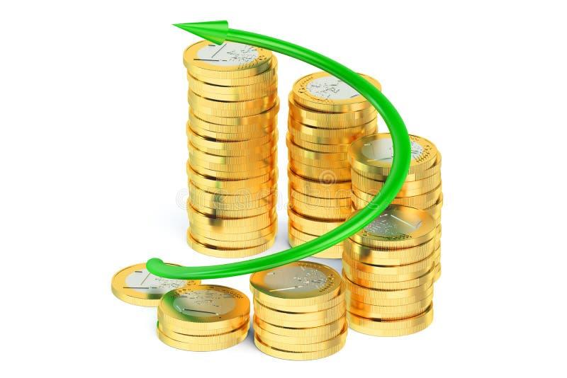 Финансовая концепция, диаграмма дела с зеленой стрелкой и c иллюстрация штока