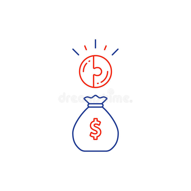 Финансовая концепция, план бюджета, сумка денег, линия композиционного процента значок иллюстрация вектора