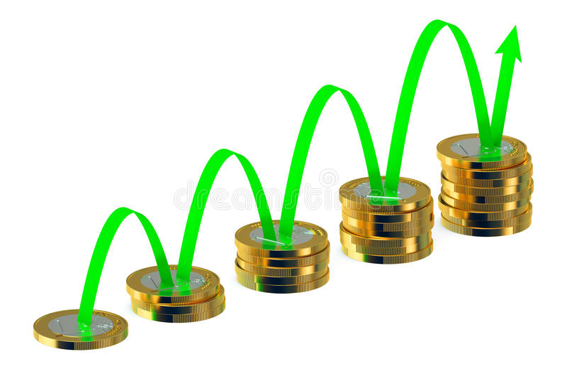 Финансовая концепция успеха, диаграмма дела с зеленой стрелкой и c иллюстрация штока