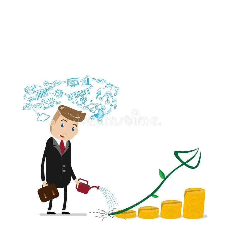 Финансовая концепция успеха роста со счастливым бизнесменом с бизнес-планом наверху, мочащ может льющ на золотых монетках как шаг бесплатная иллюстрация