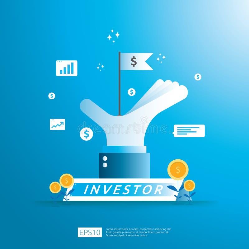 финансовая концепция финансирования инвестора дела с монеткой денег и флагом символа успеха в иллюстрации сильной руки Рентабельн иллюстрация вектора