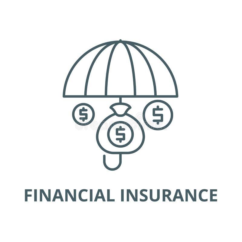 Финансовая линия значок вектора страхования, линейная концепция, знак плана, символ иллюстрация штока