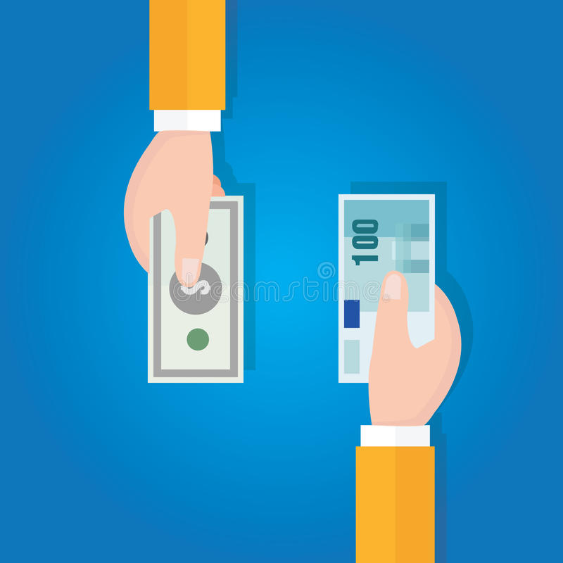 Финансовая операция валютной биржи денег иллюстрация вектора