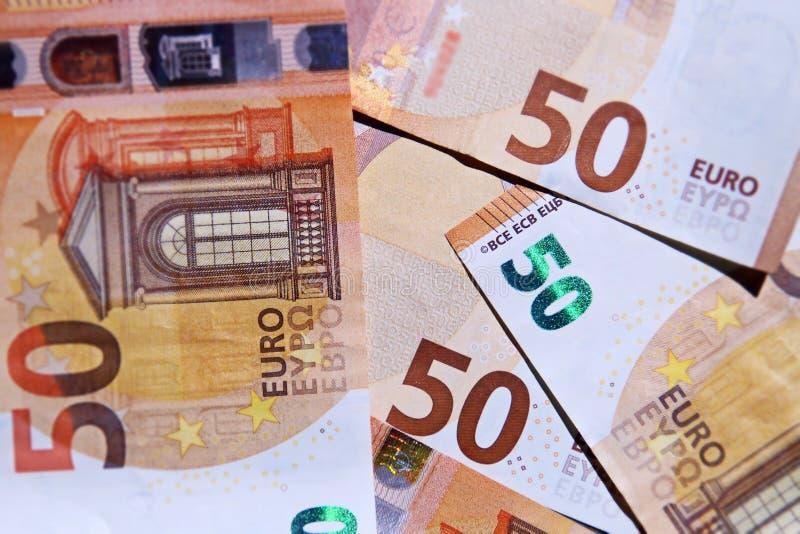 Финансовая предпосылка с 50 счетами евро стоковые изображения rf