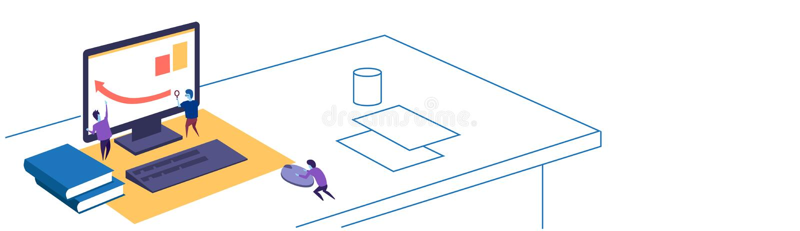 Финансовая стрелка диаграммы вверх по людям работая совместно используя doodle эскиза места для работы концепции сыгранности увел иллюстрация штока