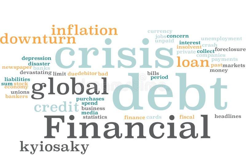 Финансовое облако слова задолженности стоковое фото rf